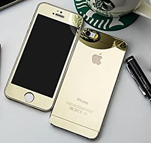Kapa Electroplated Mirror Front + Back Tempered Glass Screen Protector for iPhone 5 5S - Gold
