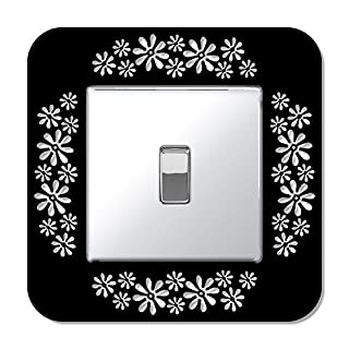 Gloss Black Single Light Switch Surround Acrylic Finger Plate Panel Socket with Flower Design Floral
