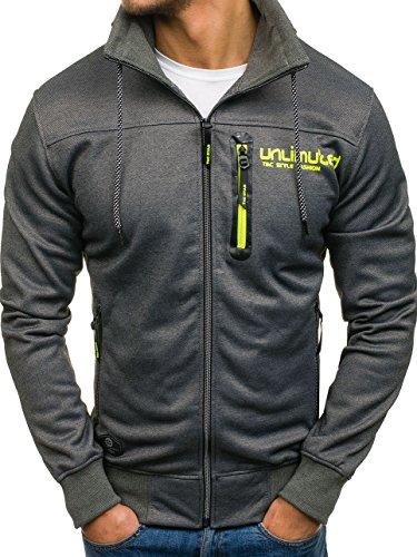 BOLF Herren Sweatshirt mit Reißverschluss Sweatjacke Print Stehkragen Zip Sport Style T&C STAR 2085 Dunkelgrau M [1A1] (Jeans-print-stoff)