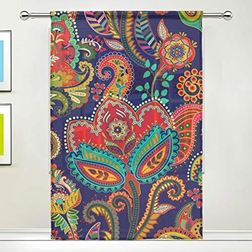 CPYang Vorhang mit Ethno-Muster, Paisley-Blumenmuster, Voile, für Wohnzimmer, Schlafzimmer, Tür, Küche, 139,7 x 198 cm, 1 Paneel, Textil, Multi, 55 x 84 inch - Voile Paisley