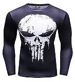 Cody Lundin® T-Shirt de compression à manches longues série de Super héros pour hommes, T-shirt mouvement collants vêtements Sport Fitness Formation Running (M, Black-white)