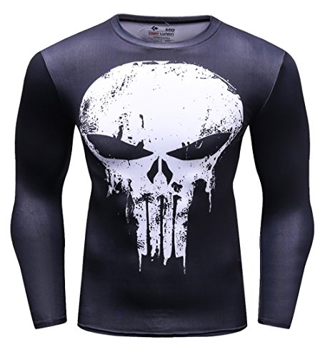 Cody Lundin Männer Anti-Held Fitness T-Shirt Männer Kompression laufen Bewegung Training Langarm Shirt Herren Skull T-Shirt gedruckt (XL, Black-white) (Langarm Shirt Training)