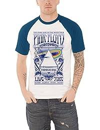 Pink Floyd T Shirt Carnegie Hall concert Flyer Nue offiziell Herren Weiß Raglan