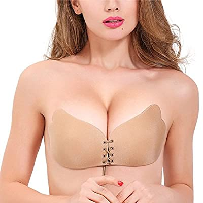 Esther Beauty Esther Beauty Womens Reusable Invisible Magic Strapless Self Adhesive Push-up Bra Stick On Gel Backless Silicone Bras