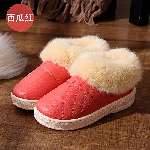 Pantoufles Doghaccd, Automne Hiver Hommes Et Femmes Couple Pantoufles En Coton Chaud Épais Avec Paquet Anti-dérapant De Salon Dans Une Luxueuse Chaussures En Coton The Red1