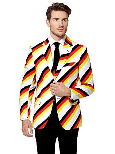 Anzug für die Fußball-Weltmeisterschaft - Kostüm für Herren bestehend aus Sakko, Hose und Krawatte (Ein Prozent Halloween Kostüm)