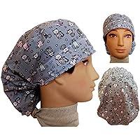 Chirurgische Kappe. Frau graue Kätzchen. für lange Haare, Chirurgie, Zahnarzt, Tierarzt, Küche usw. Handtuch vorne, perfekte Passform und passt alle Haare. Handmade