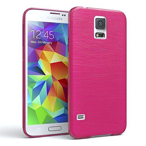 EAZY CASE Hülle für Samsung Galaxy S5/LTE+/Duos/Neo Schutzhülle Silikon, gebürstet, Slimcover in Edelstahl Optik, Handyhülle, TPU Hülle/Soft Case, Backcover, Silikonhülle Brushed, Pink