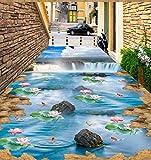 Rureng 3D Cliff Falls Blue Sky Weiß Lotus Teppich Küche Boden Tragen Rutschfeste Wasserdichte Schlafzimmer Quadrat Bodenbelag Wandbild-250X175Cm