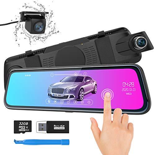 """Spiegel Dashcam, ThiEYE Autokamera Video Recorder 1080P Full HD mit 170° Weitwinkelobjektiv,10"""" IPS Touchscreen, mit Nachtsicht, Loop-Aufnahme und G-Sensor, Parküberwachung"""