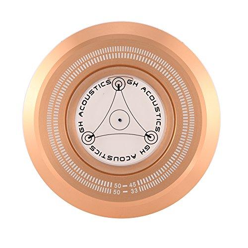 VBESTLIFE 50Hz Plattenspieler Disc Record Gewicht Stabilisator Clamp mit Wasserwaage für LP Vinyl Record Player(Gold) (Player Plattenspieler Record)