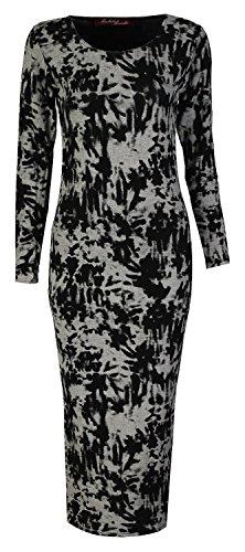 Fast Fashion Damen Midi Kleid Aztec Schädel Lippen Und Leoparddruck Langen Ärmeln Tie Dye Druck