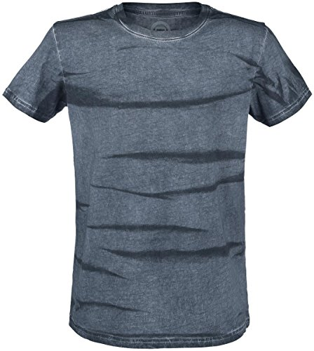 R.E.D. by EMP Spray Washed T-Shirt grigio/blu S