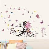 Logobeing Pegatinas de Pared Mariposas,Wall Stickers,Flor de Mariposa,Pegatinas de Pared Para Niñas,Papel de Pared Cuarto, Multicolor, 120 X 80 Cm (Multicolor)