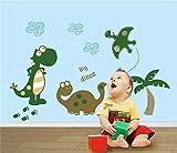 Big Dinos Pegatinas de Pared de Dibujos Animados para Niños Lindos Dinosaurios Jugando en Dinosaur Park Adhesivos Decorativos de Vinilo DIY Decorativos Coloridos para Cuarto de la Guardería, Dormitorio de Los Niños, Sala de Juegos