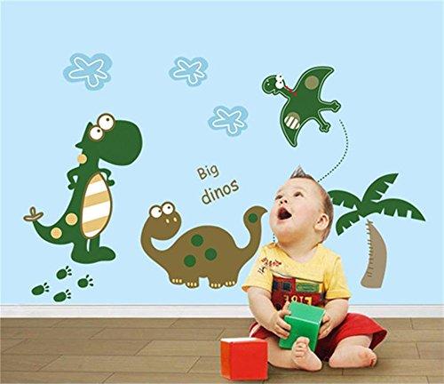 Große Dinosaurier Cartoon Wand-Aufkleber für Kinder Nette Dinosaurier die im Dinosaurier-Park Spielen Bunte Dekorative Entfernbare DIY Vinyl Wandtattoo für Kinderzimmer, Schlafzimmer,Spielzimmer -