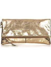 CNTMP, Damen Handtaschen, Clutch, Clutches, Clutchbags, Unterarmtaschen, Partybags, Trend-Bags, Metallic, Leder Tasche, 25x13x2,5cm (B x H x T)