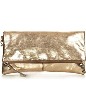 Leder Clutch-Bag mit Metallic-Optik von