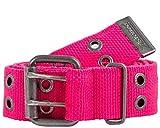 2Stoned Nieten-Gürtel Stoff mit Dornschließe in Neon-Pink 4 cm breit, 105 cm lang, für Damen und Mädchen