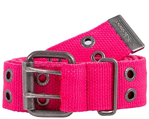 2Stoned Nieten-Gürtel Stoff mit Dornschließe in Neon-Pink 4 cm breit, 125 cm lang, für Damen