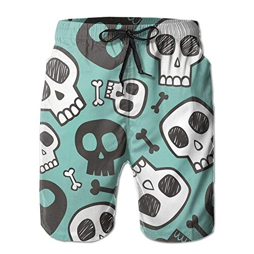 Paint0 Skulls and Bones Halloween Men's Quick Dry Beach Board Shorts Summer Swim Trunks XXL (Halloween Bones Dry)