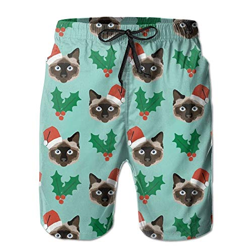 Siamese Christmas Cat Men's Printing Quick Dry Beach Board Shorts Swim Trunks S -