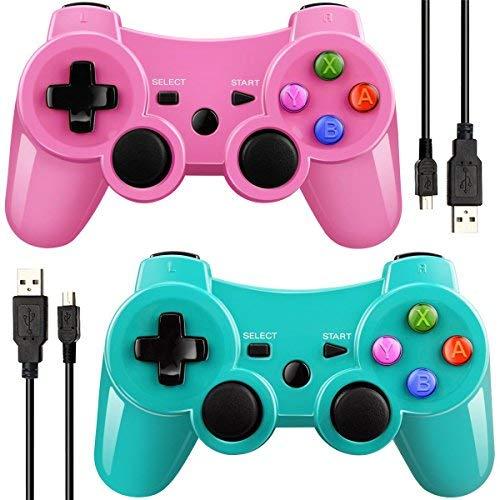 Mando Inalámbrico Bluetooth Controller Doble Vibración para Sony PS3 PlayStation 3 con Funciones SIXAXIS -(verde/rosado)