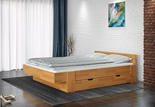 Double bed / Storage bed Nadim 4 incl. 2 underbed drawer, solid beech wood, oiled - 180 x 200 cm