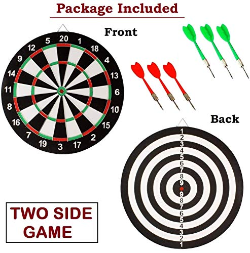 E - Royal Shop® Original Wooden 17 inch Double Faced Flock Printing Thickening Family Game Dart Board with 6 Needle