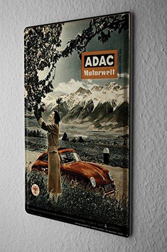 LEotiE SINCE 2004 Blechschild Dekoschild Nostalgie Nostalgie Werbeplakat ADAC Motorwelt Zeitschrift 1956 Alpen Oldtimer 20x30 cm -