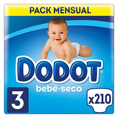 Dodot Bebé-Seco - Pañales para bebé con canales de aire, 6-10 kg, Talla 3 (5 - 10 kg)  - 210 Pañales