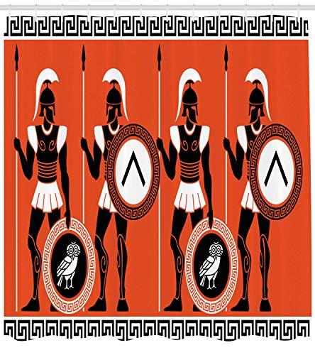 Nyngei Toga Party Duschvorhang Kunsthistorische Figuren im antiken Griechenland Thema Mystische Kulturen Stoff Badezimmer Dekor Set mitLong Orange Weiß (Das Toga Griechenland Antike)