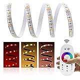 10 Meter (Set) mit Funkfernbedienung: hochwertige RGBWW LED Stripe Band Streifen Leiste mit 60 LED/m (weiße Oberfläche, 10m, IP65, wassergeschützt) + Funk-Controller und 6A Netzteil