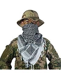 OneTigris - Pañuelo palestino de algodón, kufiyya para cubrir la cabeza durante operaciones tácticas en el desierto, para hombre y mujer (Negro)
