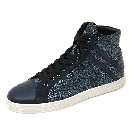 B9526 sneaker alta donna HOGAN REBEL R182 scarpa blu shoe woman Blu