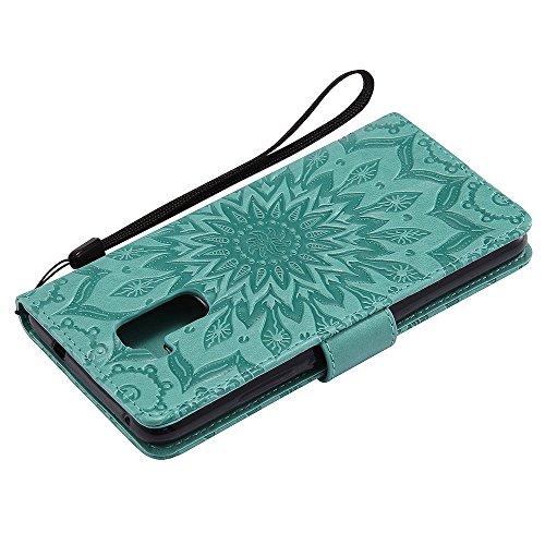 Für Huawei Hornor 5C Fall, Prägen Sonnenblume Magnetische Muster Premium Soft PU Leder Brieftasche Stand Case Cover mit Lanyard & Halter & Card Slots ( Color : Green ) Green