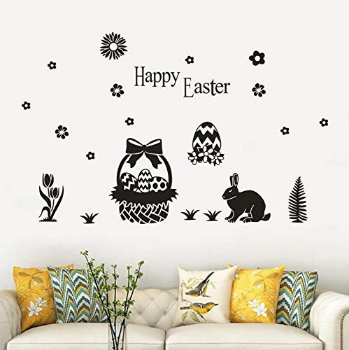 Yzybz Hot Happy Easter Eggs Sticker Wall Decals Home Decorative Rabbits Design Wall Stickers  Kids Room Decoration (Rabbit Hot Halloween)