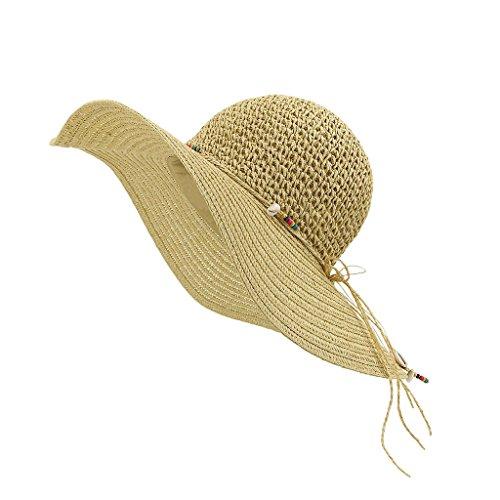 LETHMIK-Cappello di paglia da donna cappello da sole estivo a tesa larga Wampum manuale per cappelli da donna