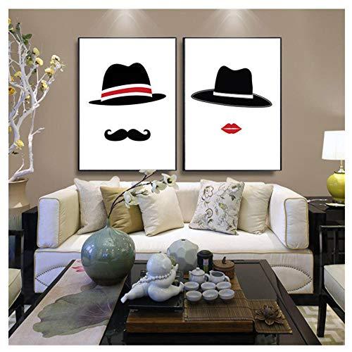 N/A Moderne Minimaliste Noir Blanc Homme Femme avec Chapeau...