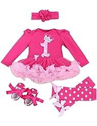FEOYA - (set de 4)Vestido de tutú para Recién nacidos Bebés Niñas con Mangas Largas Banda de Pelo y Calcetines Y Zapatos para Fiesta Ceremonia con Dinujo Fashion Diseño - Número - Talla 1-24meses