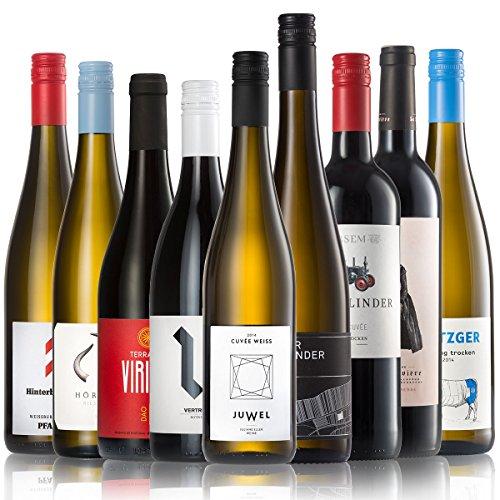 GEILE WEINE Weinpaket ALLSTARS (9 x 0,75l) | Trockener Weißwein und Rotwein im Probierpaket | Wein von Winzern aus Deutschland, Frankreich und Portugal für jeden Geschmack