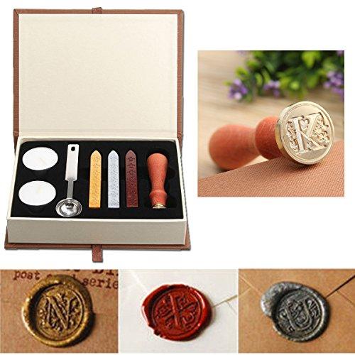 Puqu Siegelwachs Set,Vintage-Initialien A-Z, Siegelstempel mit Wachs, Geschenk-Box