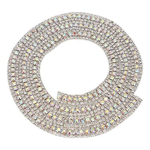 Catena strass cucito, 3 fili catena strass fai da te artigianale strass artigianato da cucire a catena, cristallo strass catena stretta (silver)