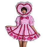 Gocebaby Adulto bebé Sissy con Cerradura Maid PVC Rosa Vestido Uniforme Disfraz Crossdress - Rosado -