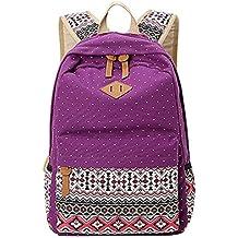 MingTai Backpack Mochilas Escolares Mujer Mochila Escolar Lona Grande Bolsa Estilo Étnico Vendimia Lunares Casual Colegio Bolso Para
