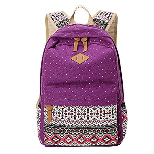Imagen de mingtai backpack  escolares mujer  escolar lona grande bolsa estilo étnico vendimia lunares casual colegio bolso para chicas