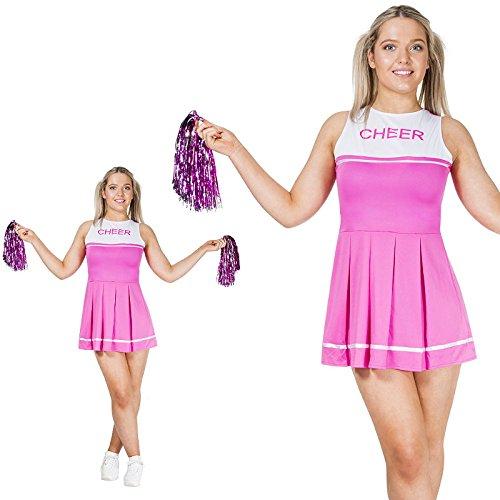Monster Pinkes Cheerleader Dress Größe S Damen mit Pom Poms Karneval 50104