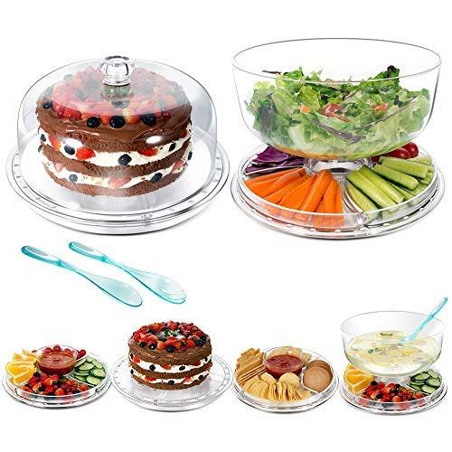 Masthome 6-in-1-Kuchenständer aus Kunststoff mit Kuppel Multifunktionale Servierplatte für Obst, Salat, Kuchen, Dessert (Kuchen-abdeckung Glas-kuppel,)