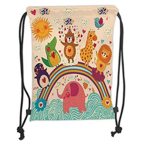 Trsdshorts Drawstring Backpacks Bags,Cartoon,Happy Animals Bear Lion Elephant Crocodile Birds on Rainbow Children Drawing Effect,Multicolor Soft Satin,5 Liter Capacity,Adjustable String Closu