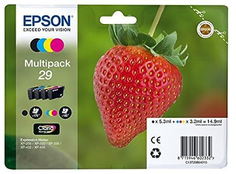 Epson Original T2986 Tintenpatrone Erdbeere, Claria Home Tinte, Text- und Fotodruck (Multipack, 4-farbig)